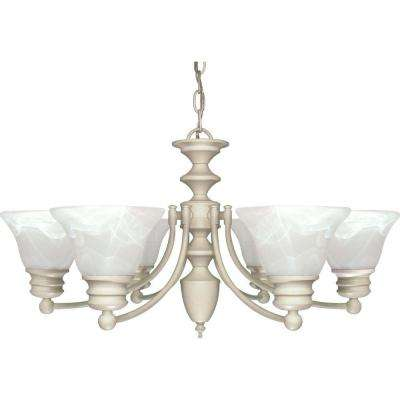 6-Light Textured White Chandelier with Alabaster Glass Bell Shades