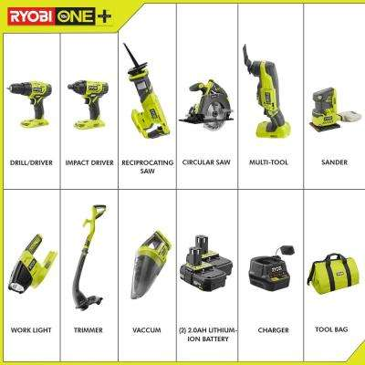 18-Volt ONE+ Lithium-Ion Cordless 9-Tool Combo Kit with (2) Batteries, Charger, and Bag