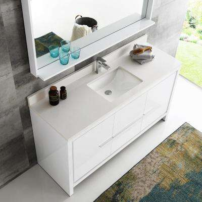 Allier 60 in. W Vanity in White with Ceramic Vanity Top in White with White Basin and Mirror