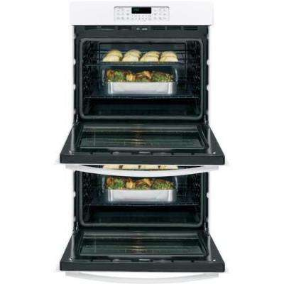 30 in. Double Electric Wall Oven Self-Cleaning with Steam in White