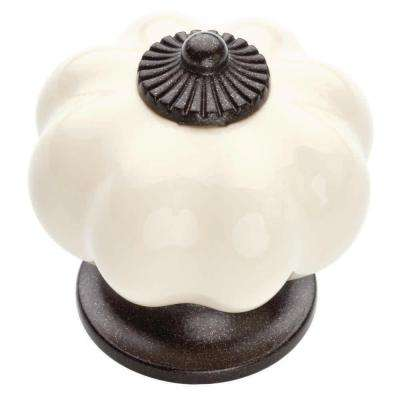 1-1/2 in. Bronze and Ivory Ceramic Melon Cabinet Knob