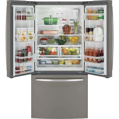 33 in. W 24.8 cu. ft. French Door Refrigerator in Slate with Icemaker, Fingerprint Resistant