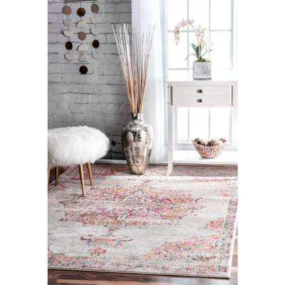 Sunny Wildflower Medallion Pink 8 ft. x 10 ft. Area Rug