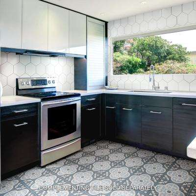 Cemento Empress Ocean Encaustic 7-7/8 in. x 7-7/8 in. Cement Handmade Floor and Wall Tile
