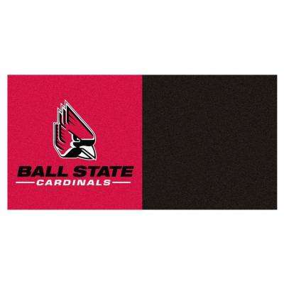 NCAA - Ball State University Black and Red Pattern 18 in. x 18 in. Carpet Tile (20 Tiles/Case)