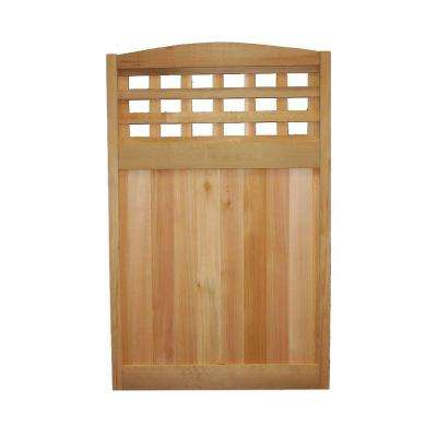 4 ft. x 2.5 ft. Western Red Cedar Checker Lattice Deluxe Arched Fence Panel