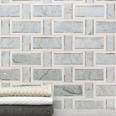 Mingle White Carrara, Gray and Thasos Interlocking 12-7/8 in. x 12-3/4 in. Marble Mosaic Tile (1.14 sq. ft.)