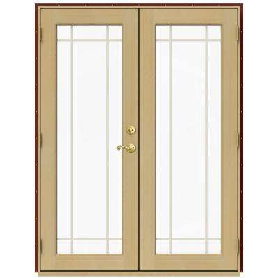 59.5 in. x 79.5 in. W-2500 Mesa Red Right-Hand Inswing French Wood Patio Door