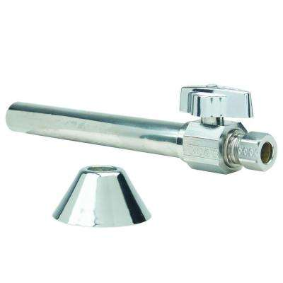 Toilet Kit: 1/2 in. Nom Sweat x 3/8 in. O.D. Comp 1/4 Turn Strt Ball Valve with 5 in. Extension, 12 in. Riser and Flange