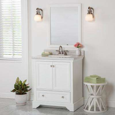 Stratfield 31 in. W x 22 in. D Bathroom Vanity in White with Solid Surface Vanity Top in Silver Ash with White Sink