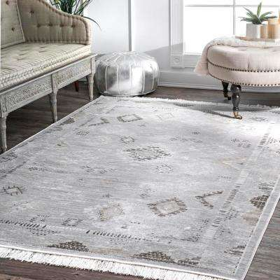 Vintage Tribal Maida Fringe Silver 8 ft. x 10 ft. Area Rug