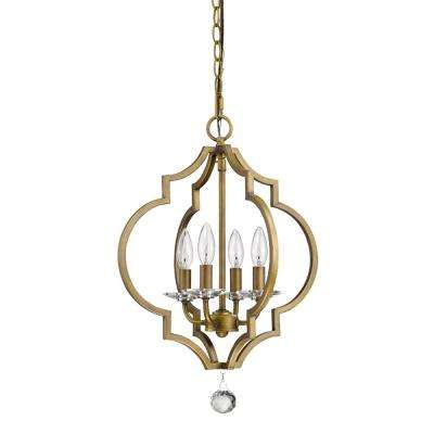 Peyton 4-Light Indoor Raw Brass Chandelier with Crystal Bobeches