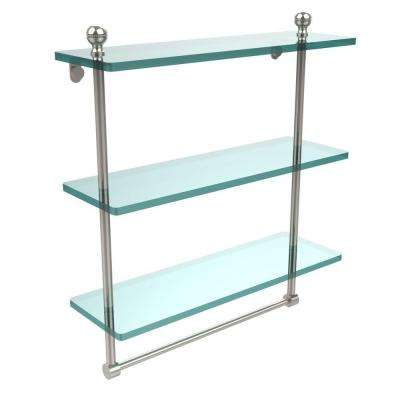 Mambo Collection 5 in. W x 16 in. L Triple Tiered Glass Shelf with Integrated Towel Bar in Polished Nickel