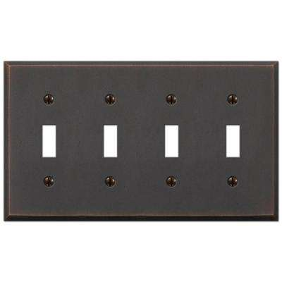 Manhattan 4 Toggle Wall Plate - Aged Bronze