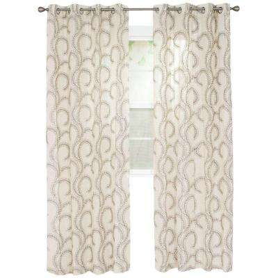 Andrea Chocolate Polyester Curtain Panel 54 in. W x 84 in. L