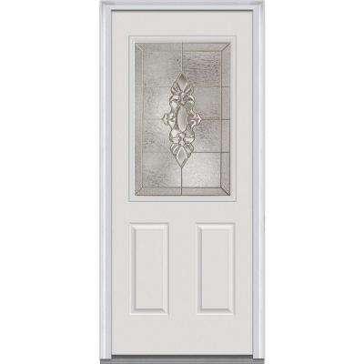 Heirloom Master Decorative Glass 1/2 Lite Painted Majestic Steel Prehung Front Door