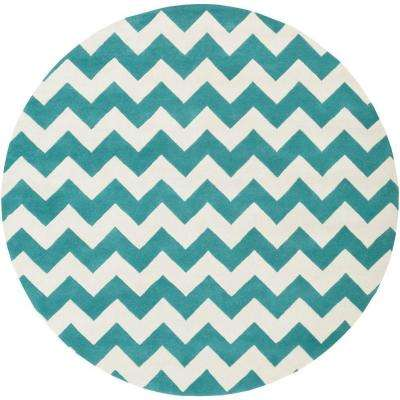 Transit Penelope Teal 8 ft. x 8 ft. Round Indoor Area Rug