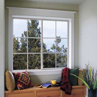 59.5 in. x 35.5 in. V-2500 Series White Vinyl Left-Handed Sliding Window with Colonial Grids/Grilles