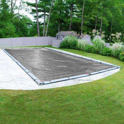 Platinum Rectangular Silver Solid In Ground Winter Pool Cover