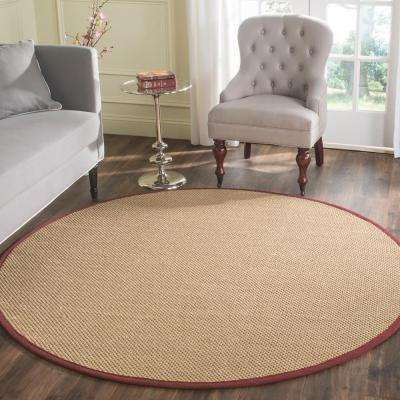 Natural Fiber Maize/Burgundy 4 ft. x 4 ft. Round Area Rug