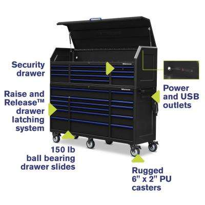 24 in. x 72 in. 26-Drawer Tool Chest and Cabinet Combo with Power and USB Outlets in Black and Blue