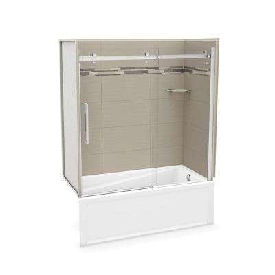 30 in. x 59.75 in. x 81.375 in. Direct-to-Stud Tub Wall Kit with Right End Tub in Origin Greige with Chrome Door