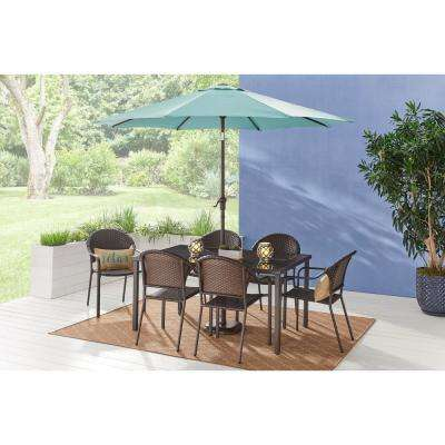 60 in. x 38 in. Mix and Match Steel Rectangular Outdoor Patio Dining Table with Glass Top