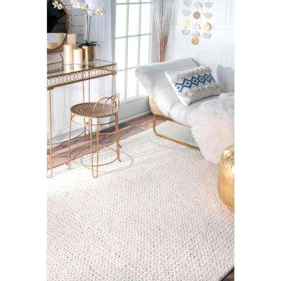 Chunky Woolen Cable Off White 6 ft. x 9 ft. Area Rug