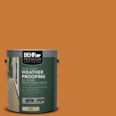 1 gal. #SC-140 Bright Tamra Solid Color Weatherproofing All-In-One Wood Stain and Sealer