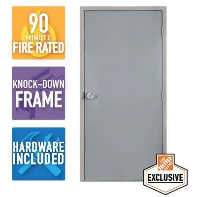 36 in. x 80 in. Fire-Rated Gray Right-Hand Flush Steel Commercial Door with Knock Down Frame and Hardware