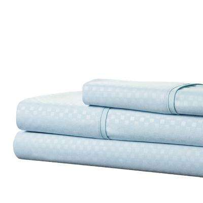 Embossed Blue 3-Piece 90 GSM Microfiber Twin Sheet Set