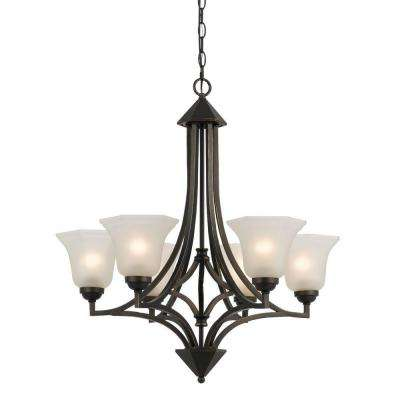6-Light Hand Forged Dark Bronze Iron Westbrook Ceiling Mount Chandelier with Glass Shades