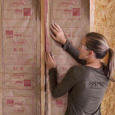 R-15 Pink EcoTouch Kraft Faced Fiberglass Insulation Roll 15 in. x 24 ft.