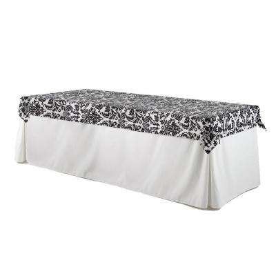 8 ft. Utility Table in White Table Cloth with Black and White Damask Topper