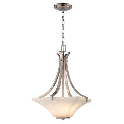 3-Light Brushed Nickel pendant with white frosted glass shade