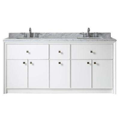 Parrish 72 in. W x 22 in. D Vanity in Bright White with Marble Top in Grey/White with White Basins
