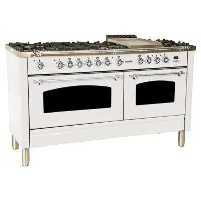 60 in. 6 cu. ft. Double Oven Dual Fuel Italian Range with True Convection, 8 Burners, Griddle, Chrome Trim in White