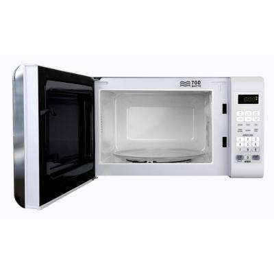 0.7 cu. ft. 700-Watt Compact Countertop Microwave Oven in White with Chrome
