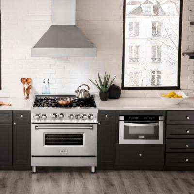 ZLINE 36 in. Professional 4.6 cu. ft. 6 Gas on Gas Range in Stainless Steel with Brass Burners