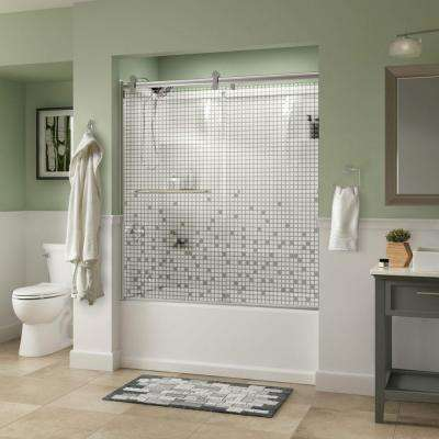 Simplicity 60 in. x 58-3/4 in. Semi-Frameless Contemporary Sliding Tub Door in Chrome with Mozaic Glass