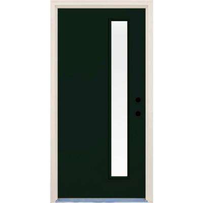 36 in. x 80 in. Fairway 1 Lite Clear Glass Painted Fiberglass Prehung Front Door with Brickmould