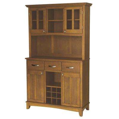 3-Drawer 44 in. W Cottage Oak Buffet with Cottage Oak Wood Top and Hutch