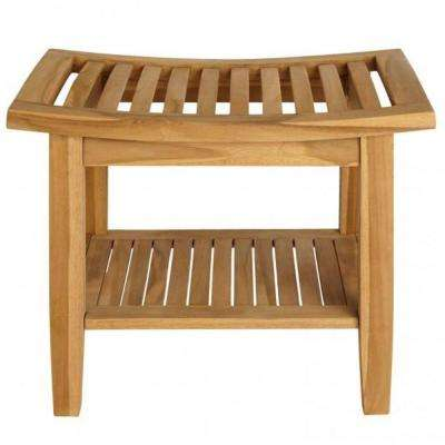 Slatted Teak Shower Seat with Shelf