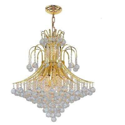 Empire Collection 15-Light Gold Chandelier with Clear Crystal Shade