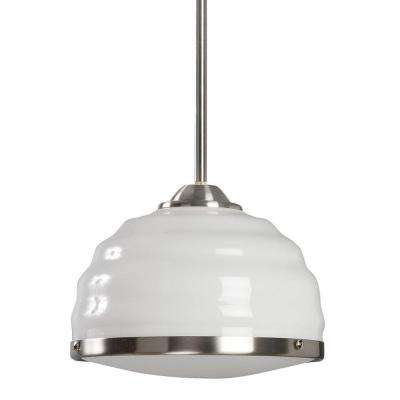 Honey Collection White with Satin Nickel Trim Hand-Blown 1-Light Pendant-DISCONTINUED