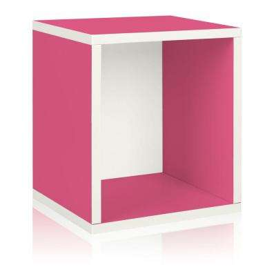 zBoard Eco 15.5 in. x 13.4 in. Stackable Storage Cube Organizer in Pink
