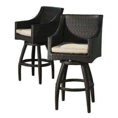Deco All-Weather Wicker Motion Patio Bar Stool with Slate Grey Cushions (2-Pack)