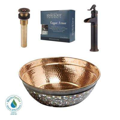 Pfister All-In-One Copper Vessel Sink Bardeen Design Kit with Ashfield Rustic Bronze Vessel Faucet