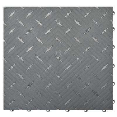15.75 in. x 15.75 in. Pearl Silver Diamond Trax 25-Tile Modular Flooring Pack (43 sq. ft. / case)