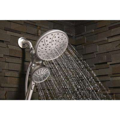Attract 6-spray 6.75 in. Dual Shower Head and Handheld Shower Head in Spot Resist Brushed Nickel Eco